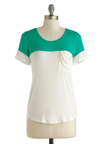 New to the Colorblock Top in Green - Multi, Green, White, Solid, Pockets, Casual, Colorblocking, Short Sleeves, Mid-length, Menswear Inspired, Summer, Jersey, Sheer, Knit, White, Short Sleeve