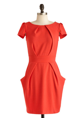 Tapioca Dokey Dress in Red - Mid-length, Red, Solid, Pockets, Party, Sheath / Shift, Short Sleeves, Boat, Exposed zipper, Work, Variation