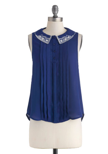 What Makes You Blue-tiful Top - Blue, White, Buttons, Embroidery, Sleeveless, Collared, Mid-length, Work, Casual, Vintage Inspired, Summer