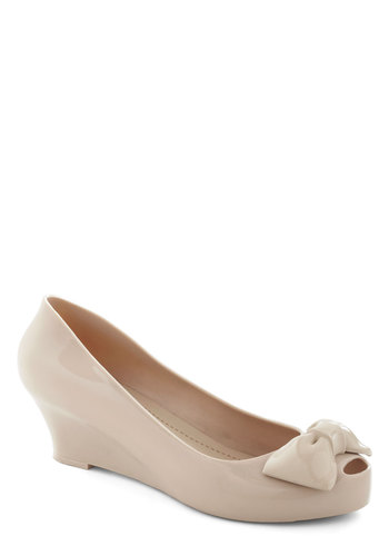 Almond Joie de Vivre Wedge - Tan, Solid, Bows, Wedge, Peep Toe, Low, Daytime Party