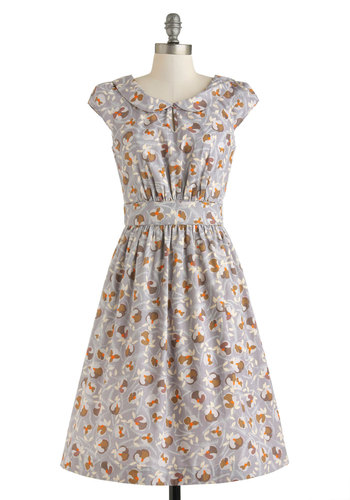 Set Me Freesia Dress by Emily and Fin - Cotton, Long, Grey, Multi, Print, Peter Pan Collar, Pockets, Casual, A-line, Cap Sleeves, Collared, Vintage Inspired, 40s, 50s