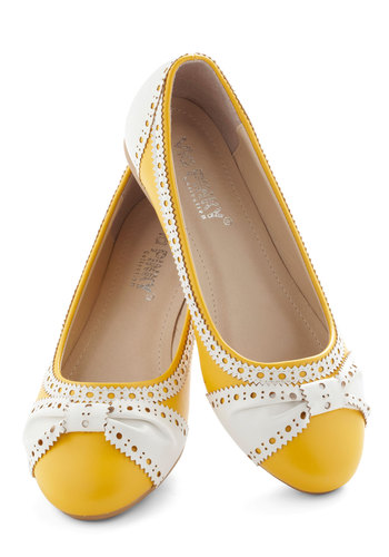 How About Wow? Flat in Sunflower - Yellow, White, Menswear Inspired, Flat, Faux Leather, Work, Casual, Daytime Party, Variation