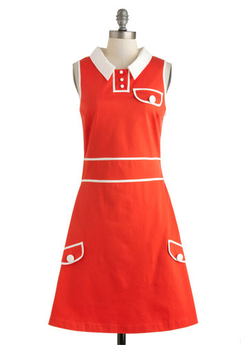 Laud and Clear Dress - Vintage Inspired, Mod, Mid-length, Red, White, Buttons, Pockets, Casual, A-line, Sleeveless, Collared, Solid, 60s, Cotton