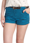 Cross the Finish Lines Shorts - Blue, Stripes, Belted, Black, Pockets, Casual, Summer, High Waist