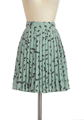 Chatter and Chirp Skirt by Darling - Blue, Pink, Black, Pleats, Short, Print with Animals, Work, Casual