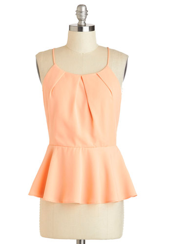 Coral Aboard Top - Coral, Solid, Pleats, Work, Peplum, Spaghetti Straps, Mid-length, Daytime Party, Pastel