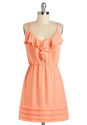 And the Living is Breezy Dress - Mid-length, Coral, Solid, Ruffles, A-line, Spaghetti Straps, Pleats, Party, Daytime Party, Pastel, Scoop, Tiered, Summer