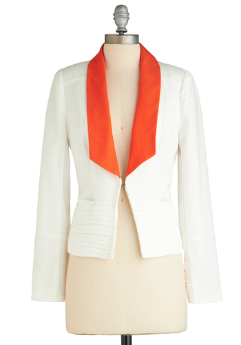 Mandarin Martini Blazer - White, Red, Pockets, Menswear Inspired, Long Sleeve, 1, Work, Short, Exclusives
