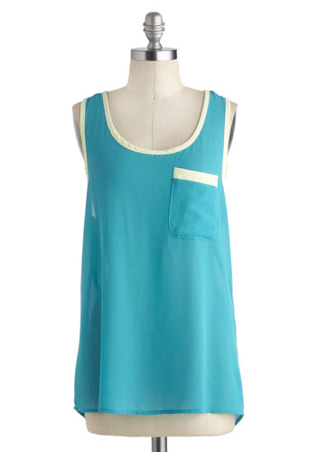 Nightlife Aquatic Top - Mid-length, Blue, Mint, Solid, Casual, Tank top (2 thick straps), Pockets, Colorblocking, Summer, Travel