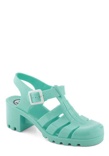 Fun in the Pair Shoe in Mint by Juju - Mint, Solid, Cutout, Vintage Inspired, 90s, Chunky heel, International Designer, Mid, Summer, Variation, Good, Strappy, T-Strap