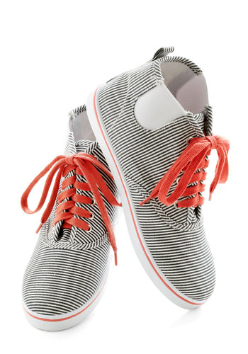 The Path to Fun Sneaker - Blue, Red, White, Stripes, Flat, Lace Up, Casual, Travel