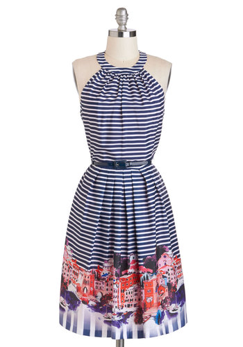 Tour Guide Gorgeous Dress - Multi, Stripes, Belted, A-line, Long, Blue, White, Halter, Crew, Novelty Print, Pockets, Daytime Party, Beach/Resort, Summer, Travel