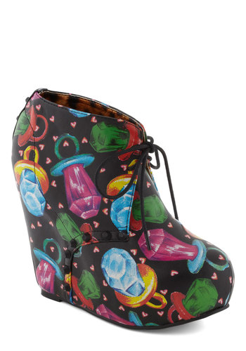 Dancing in the Sweets Wedge - Novelty Print, Studs, Wedge, Faux Leather, High, Multi, Girls Night Out, Statement, Urban, Kawaii, Quirky, Platform, Lace Up