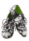 Walk a Smile Flat - Black, White, Lace Up, Novelty Print, Casual, Urban, Quirky, Statement