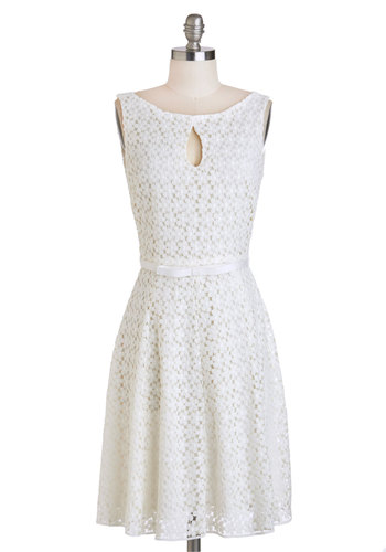 Where the Wildflowers Are Dress - White, Belted, Sleeveless, Spring, Wedding, A-line, Mid-length, Solid, Cutout, Lace, Boat, Party, Daytime Party, Graduation, Summer, Bride