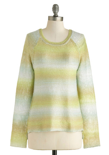 Meadow Variations Sweater - Green, Blue, White, Gold, Stripes, Casual, Long Sleeve, Mid-length, Travel
