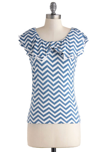 Crisp Character Top - Mid-length, Blue, White, Chevron, Ruffles, Casual, Cap Sleeves, Scoop, Summer