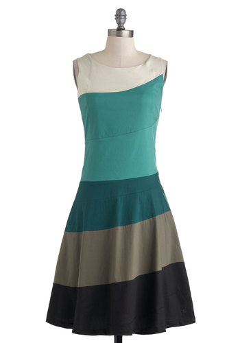 Renowned Repertoire Dress by Skunkfunk - Long, Green, Brown, Tan / Cream, Black, Cutout, Casual, A-line, Tank top (2 thick straps), Boat, Work, Vintage Inspired, 60s, Colorblocking, Eco-Friendly