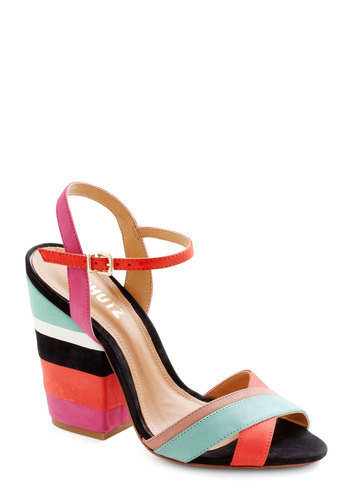 Layers of the Land Heel - Multi, Stripes, Peep Toe, Chunky heel, High, Leather, Party, Luxe, Statement, Colorblocking