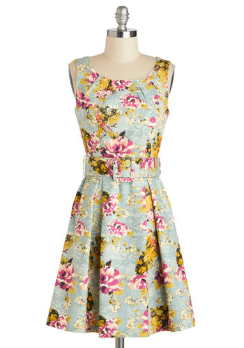 Spring-a-Ding-Ding Dress by Darling - Cotton, Mid-length, Blue, Multi, Floral, Belted, Daytime Party, A-line, Tank top (2 thick straps), Scoop, Exposed zipper, Wedding, Graduation