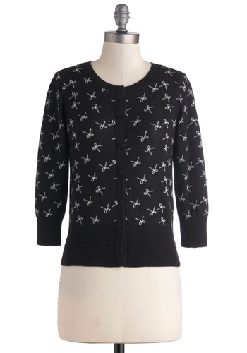 Bows Upon Bows Cardigan - Cotton, Short, Black, White, Buttons, Daytime Party, Print, Work, Casual, 3/4 Sleeve, Crew, Winter