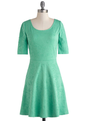 Empire State of Mint Dress - Mid-length, Green, Solid, A-line, Short Sleeves, Scoop, Party, Work, Daytime Party