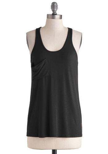 Downtown Boutique Tank in Onyx - Mid-length, Black, Solid, Pockets, Casual, Tank top (2 thick straps), Variation, Minimal, Scoop, Summer, Black, Sleeveless