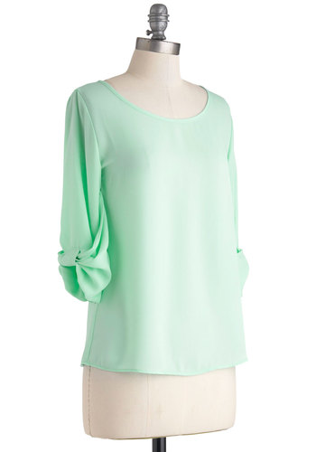 Weekend Professional Top - Sheer, Mid-length, Mint, Solid, Bows, Work, 3/4 Sleeve, Casual, Pastel, Minimal, Scoop, Gifts Sale