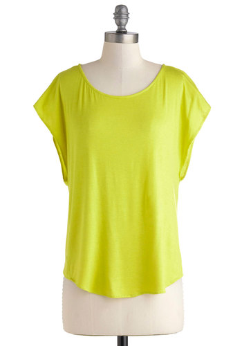 Citron and On Top - Mid-length, Yellow, Solid, Casual, Short Sleeves, Vintage Inspired, 80s, Summer, Travel