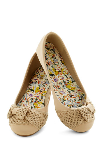 Crochet You'll Be Mine Flat - Tan, Bows, Cutout, Flat, Faux Leather, Solid, Casual