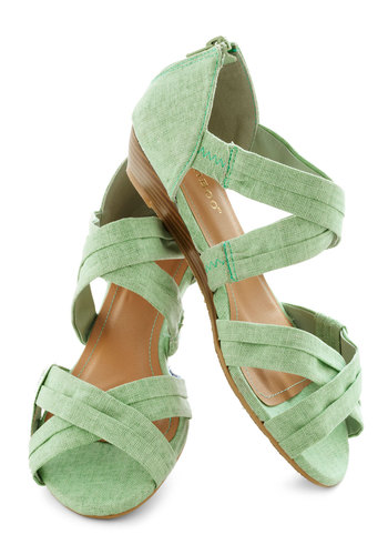 Fresh Pick Wedge in Honeydew - Green, Low, Wedge, Daytime Party, Pastel, Spring, Summer, Strappy, Variation, Mint