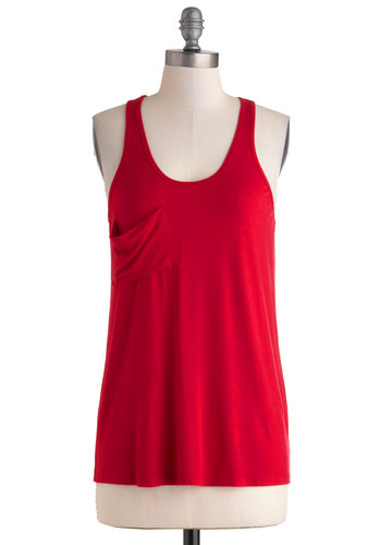 Downtown Boutique Tank in Ruby - Mid-length, Red, Solid, Pockets, Casual, Tank top (2 thick straps), Minimal, Variation, Scoop, Summer