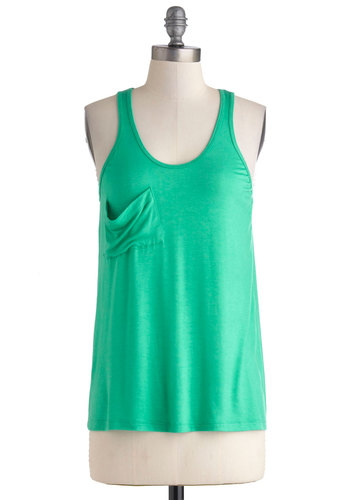 Downtown Boutique Tank in Emerald - Mid-length, Green, Solid, Pockets, Casual, Tank top (2 thick straps), Minimal, Scoop, Variation, Summer, Mint