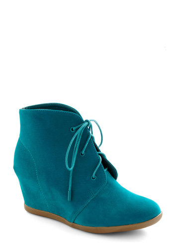 Azure in Luck Bootie - Blue, Solid, Wedge, Lace Up, Mid, Party, Basic, Fall, Top Rated