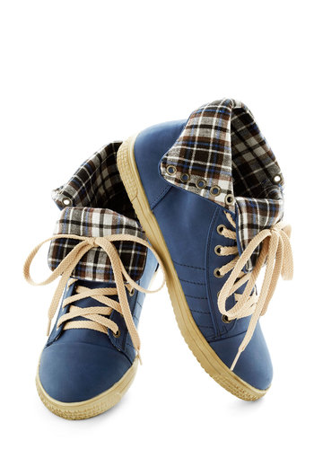 Running the Gamut Sneaker - Blue, Multi, Plaid, Casual, Urban, Flat, Lace Up, Faux Leather, Travel, Fall, 90s