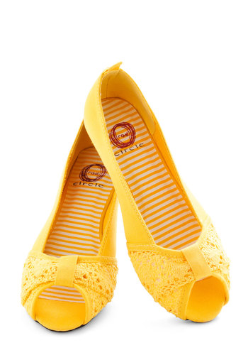 Saffron the Ball Flat - Flat, Yellow, Crochet, Peep Toe, Spring