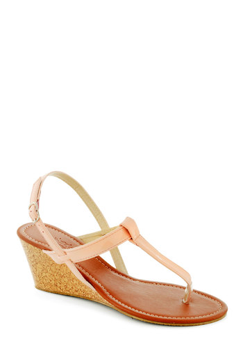 S'il Vous Play Date Wedge - Pink, Summer, Wedge, Mid, Solid, Daytime Party, Spring, Faux Leather, Beach/Resort