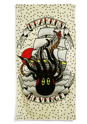 Let's Get Kraken Beach Towel - Multi, Novelty Print, Vintage Inspired, Dorm Decor, Beach/Resort, Nautical, Cotton, Travel, Good