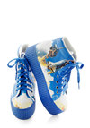 Blast Off into Fun Flatform by Jeffrey Campbell - Blue, Multi, Quirky, Mid, Novelty Print, Casual, Urban, Platform, Lace Up