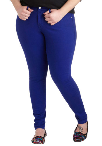 Manic Fun-day Jeans in Cobalt - Plus Size by Levi's - Cotton, Denim, Variation, Blue, Solid, Pockets, Casual, Minimal, Skinny, Fall