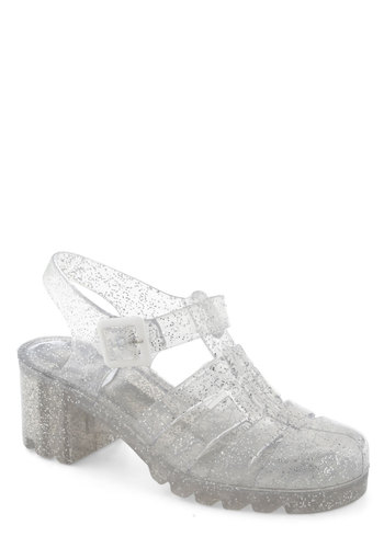 Fun in the Pair Shoe by Juju - Silver, Solid, Cutout, Glitter, Vintage Inspired, 90s, Chunky heel, International Designer, Mid, Summer, Multi, Good, Strappy, T-Strap