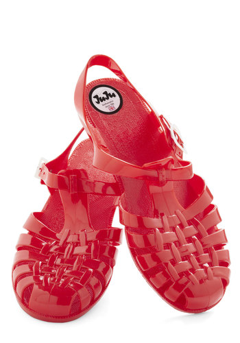 Queen of the Sand Castle Sandal by Juju - Red, Solid, Cutout, Vintage Inspired, 90s, International Designer, Low, Summer, Travel