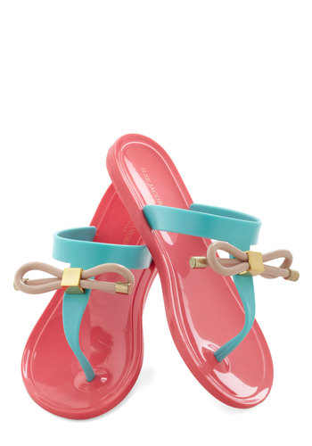 Wave Pool Party Sandal - Coral, Blue, Solid, Bows, Flat, Tan / Cream, Casual, Beach/Resort, Summer, Travel