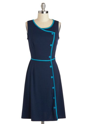 Chord-ially Yours Dress in Blue - Buttons, Trim, A-line, Sleeveless, Exclusives, Blue, Casual, Scoop, Solid, Work, Vintage Inspired, 50s, 60s, Variation, Knit, Mid-length