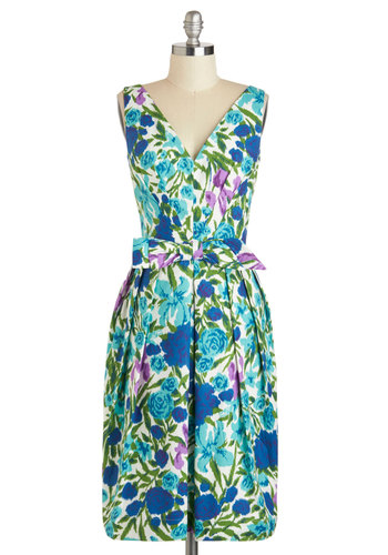 Steeping Willow Dress by Emily and Fin - Vintage Inspired, Cotton, Long, Green, Blue, Purple, White, Floral, Bows, Pleats, Daytime Party, Shift, Tank top (2 thick straps), V Neck, Pockets, Wedding, Graduation