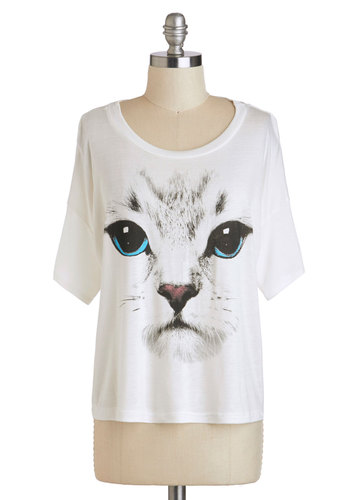 Who Are You Kitten? Top - White, Blue, Black, Casual, Short Sleeves, Short, Print with Animals, Summer, Travel, Cats