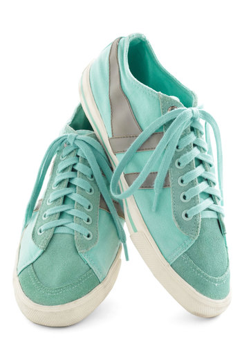 Me, Myself, and Sky Sneaker - Green, Grey, Solid, Casual, Flat, Leather, Pastel, Travel