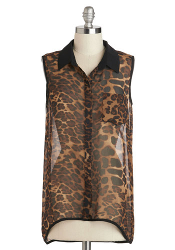 Prowling the Jukebox Top - Brown, Black, Animal Print, Buttons, Pockets, Sleeveless, Collared, Mid-length, Casual, Girls Night Out, Safari, Button Down, Sheer, Halloween, Brown, Sleeveless