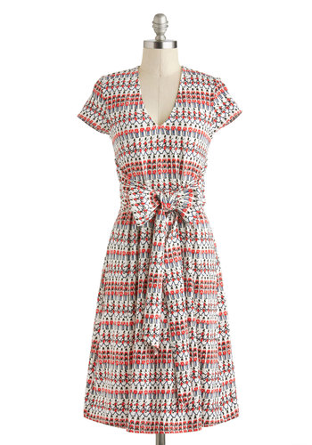 En Avant Garde Dress by People Tree - International Designer, Cotton, Red, Blue, Black, Print, Belted, Casual, A-line, Short Sleeves, V Neck, Folk Art, Spring, Eco-Friendly, White