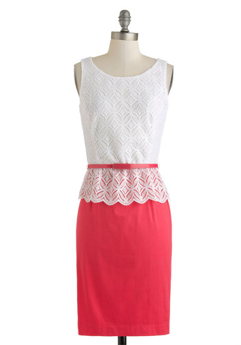 Tell a Tale or Twofer Dress - Pink, White, Lace, Belted, Party, Shift, Sleeveless, Spring, Mid-length, Work